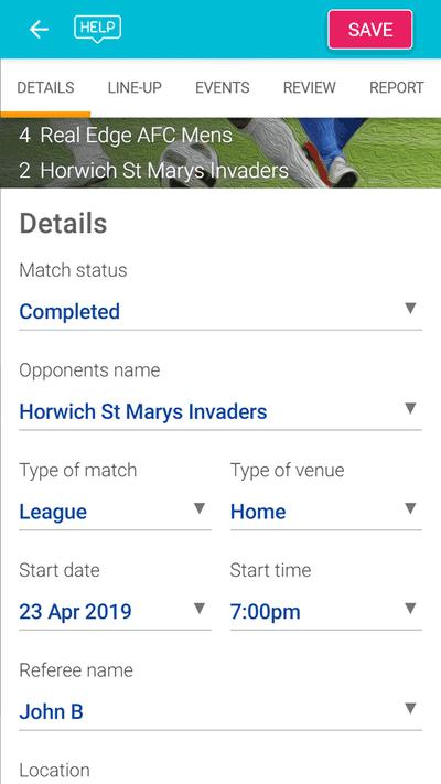 Screenshot of TeamStats : Add Report Details Mobile