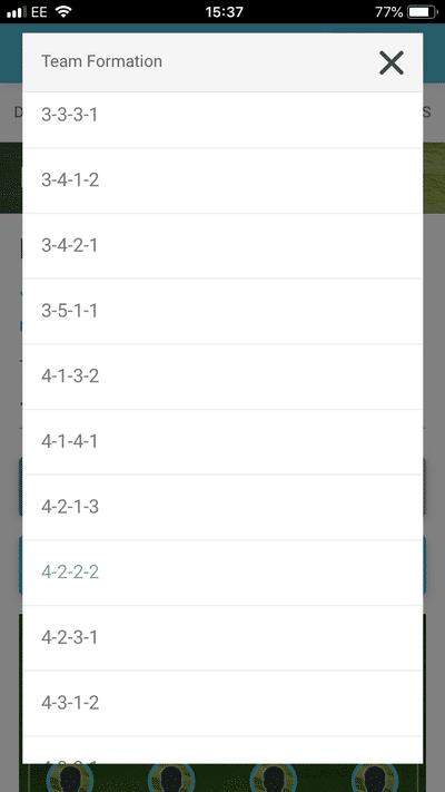 Screenshot of TeamStats : Admin Schedule Formations