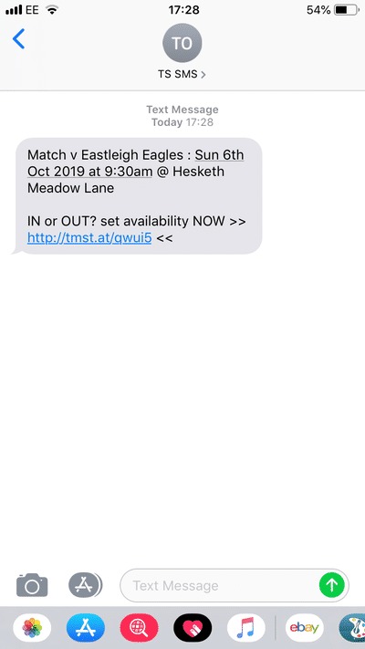 Screenshot of TeamStats : Availability Sms Message?a=1