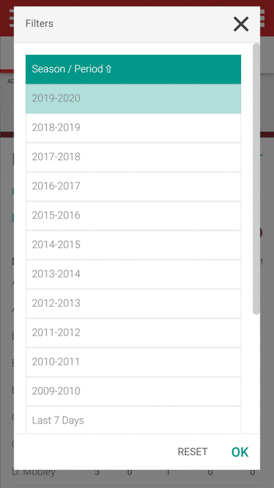 Screenshot of TeamStats : Filters Seasons List