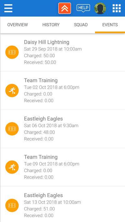 Screenshot of TeamStats : Finances Events List Mobile