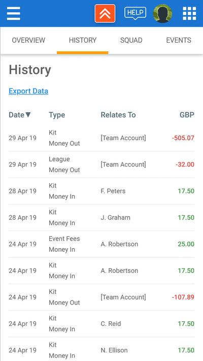 Screenshot of TeamStats : Finances History Mobile2