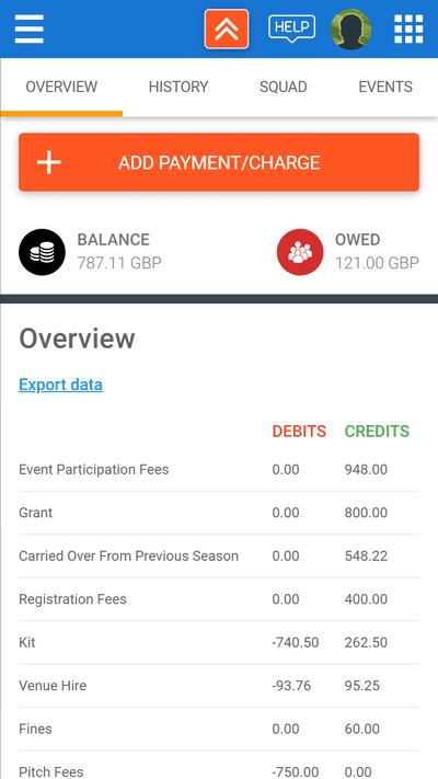 Screenshot of TeamStats : Finances Overview
