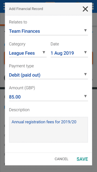 Screenshot of TeamStats : Finances Team Payment