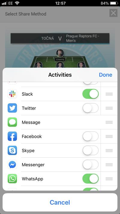 Screenshot of TeamStats : Line Up Sharing