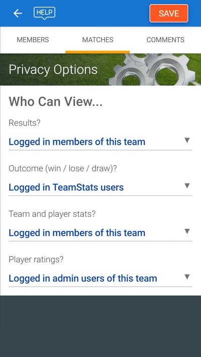 Screenshot of TeamStats : Match Access Controls Mobile