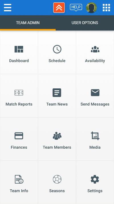TeamStats app - admin menu