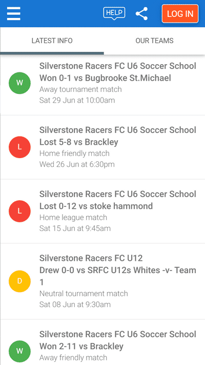 Screenshot of TeamStats : Mobile Club Home Results