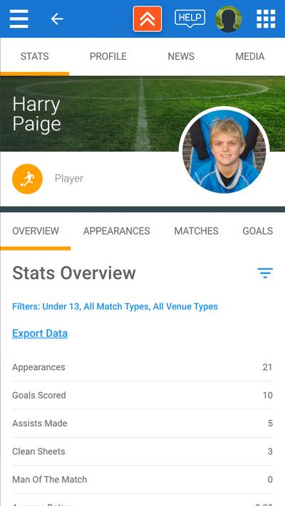 Screenshot of TeamStats : Mobile Player Profile Boys