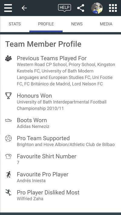 Screenshot of TeamStats : Mobile Player Profile Details