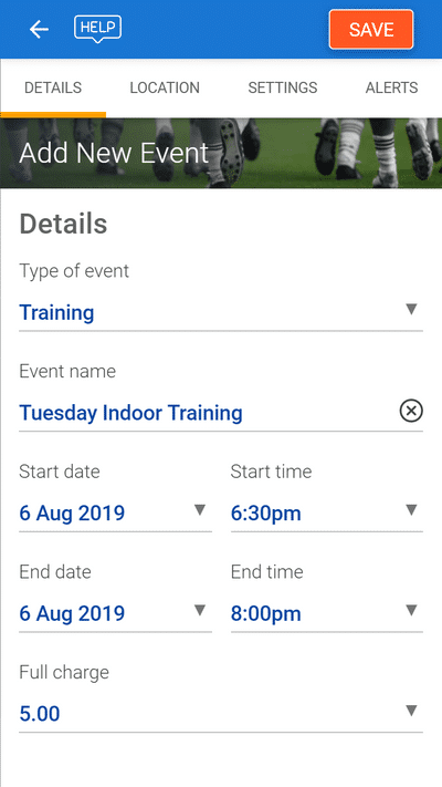 Screenshot of TeamStats : Organise Training