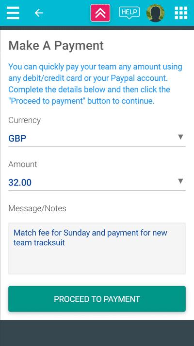 Screenshot of TeamStats : Player Payment Details