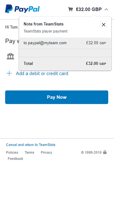 Screenshot of TeamStats : Player Payment Paypal