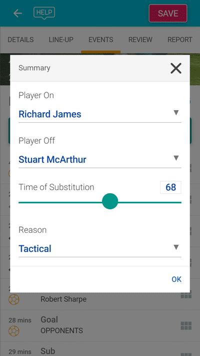 Screenshot of TeamStats : Report Sub Mobile