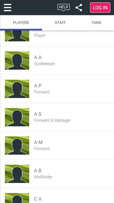 Screenshot of TeamStats : Safeguarding Members List Mobile