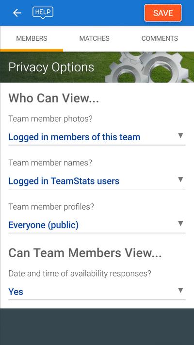 Screenshot of TeamStats : Safeguarding Options Mobile