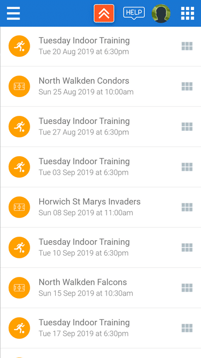Screenshot of TeamStats : Schedule List Regular Training
