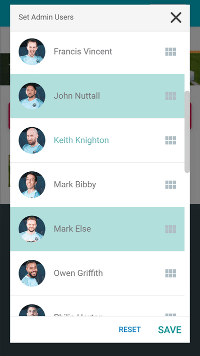 Screenshot of TeamStats : Set Admin Users Mobile