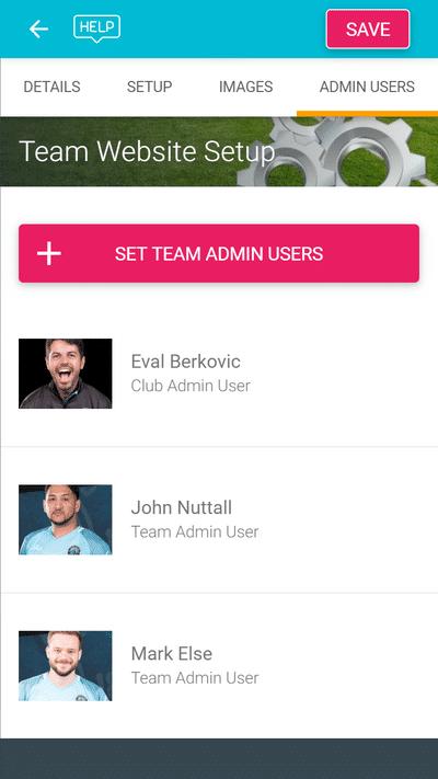 Screenshot of TeamStats : Settings Admin Users Mobile