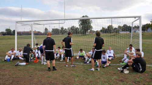 half time team talk with manager