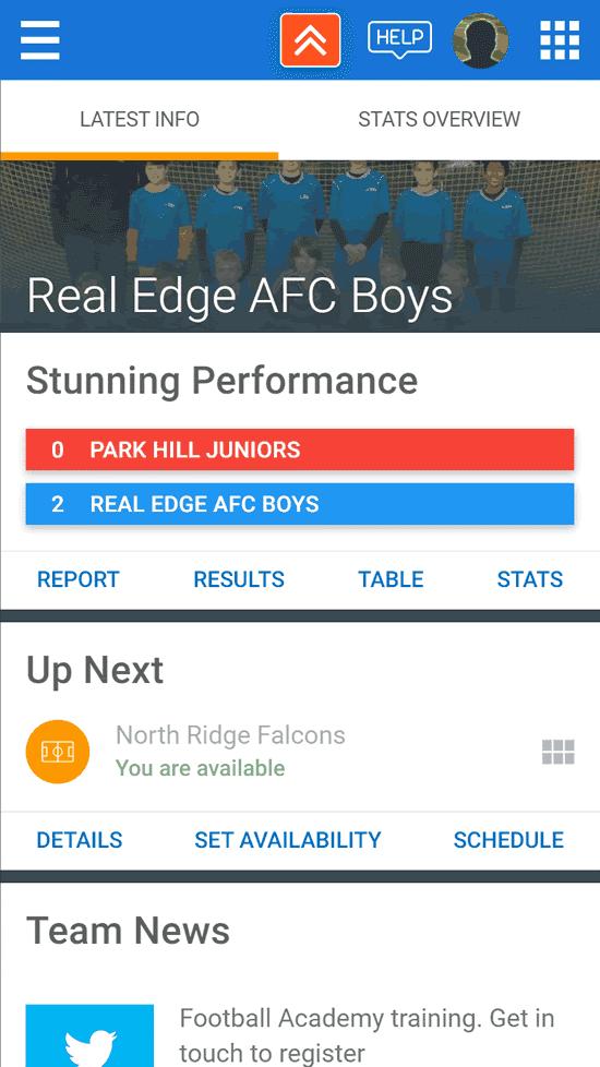 TeamStats app - team overview screenshot
