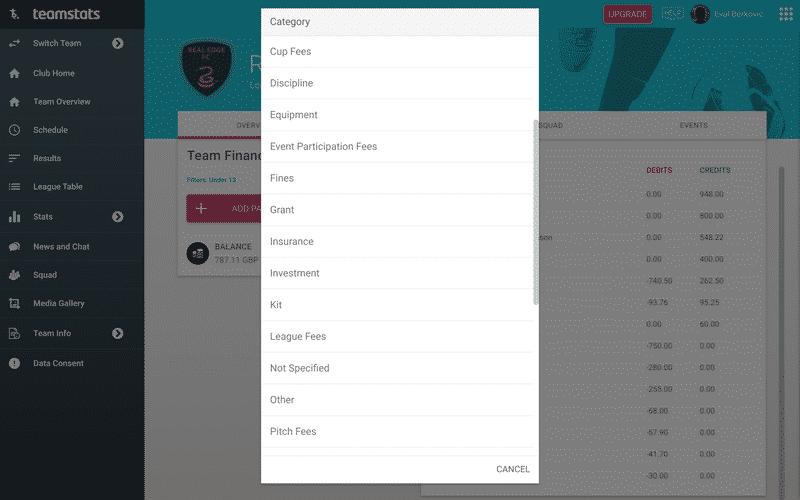 Screenshot of TeamStats : Desktop Finances Payment Categories?v=1