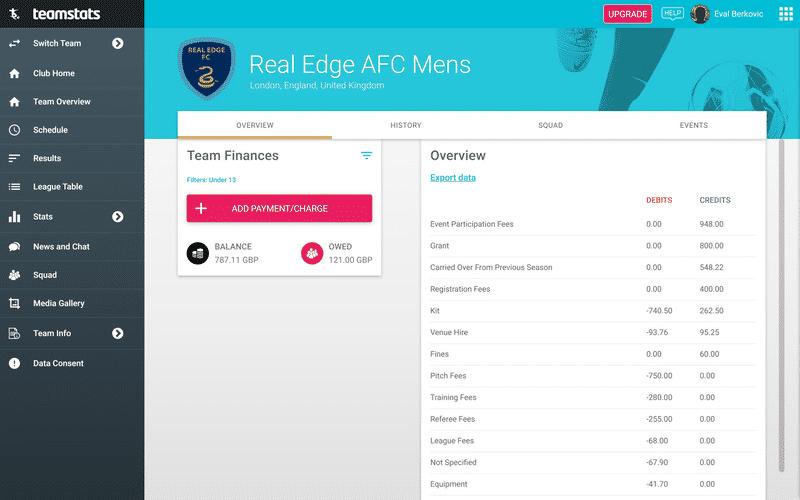 Screenshot of TeamStats : Finances Overview Desktop?v=2