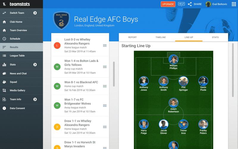 Screenshot of TeamStats : Match Report Desktop