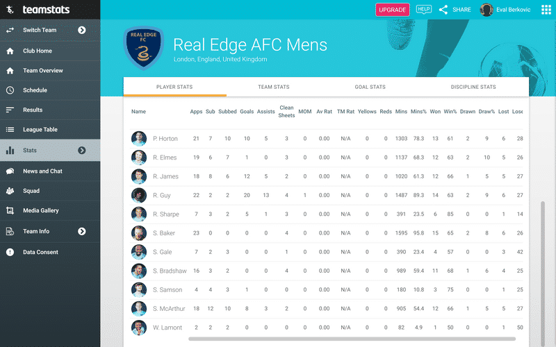 Screenshot of TeamStats : Player Stats Desktop?v=2