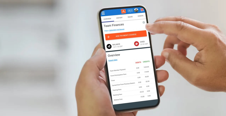 Football team management app with financial and payment features